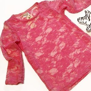 Other - Toddler Floral Vintage Lace Top 3/4 Sleeve in Pink